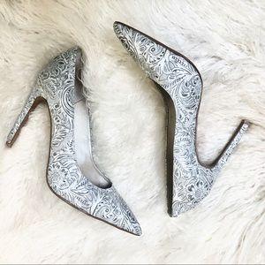 Ibiza Jeffrey Campbell sliver/ gray floral heels